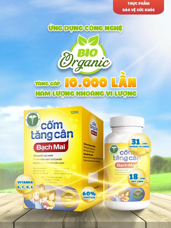 Cốm tăng cân Bạch Mai - ứng dụng công nghệ Bio Organic